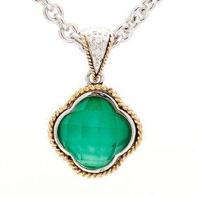 ACP130 Green Agate Clover Pendant