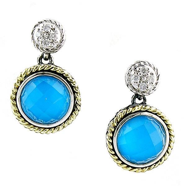 Andrea Candela ACE154 Turquoise and Diamond Earrings
