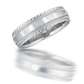 N00136 Engraved Milgrain Wedding Band