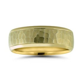 N16732 hammered wedding band with polished edges