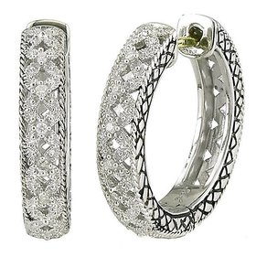 ACE227 filigree diamond hoop earrings