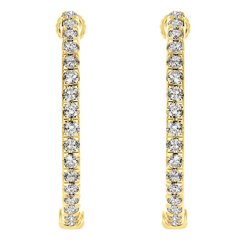 Gabriel & Co EG10856 14kt yellow gold diamond hoop earrings