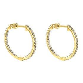 EG10856 14kt yellow gold diamond hoop earrings