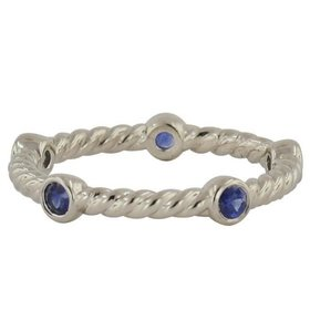 Lady's Novell LD16870 cable style stackable band with sapphires