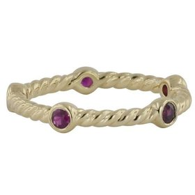 LD16870 cable style stackable band with rubies