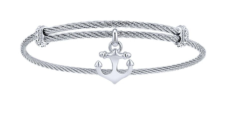 Gabriel & Co BG3588MXJJJ stainless steel and silver charm bracelet