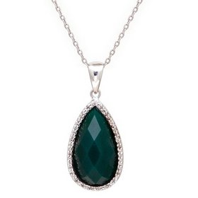 N0352GG  green agate pear shape drop necklace