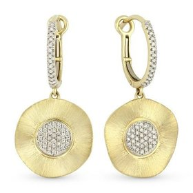 E1066Y hammered gold earrings