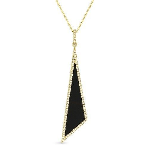 Madison L DN4923 Black Onyx and Diamond Drop Necklace