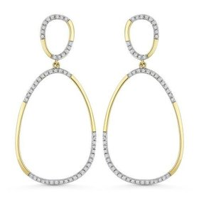 DE11279  Gold oval diamond hoop drop earrings
