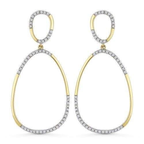 DE11279  Gold oval diamond hoop drop earrings