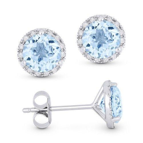 DE11243  Blue topaz and diamond earrings