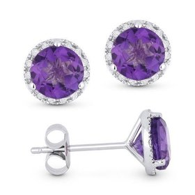 amethyst and diamond halo earrings DE11102