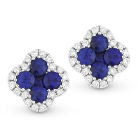 Blue sapphire and diamond cluster stud earrings