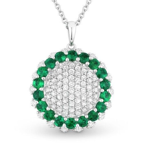 Madison L Emerald and Diamond Circle Necklace