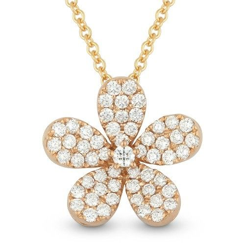 Madison L DN3709 14kt rose gold flower design necklace