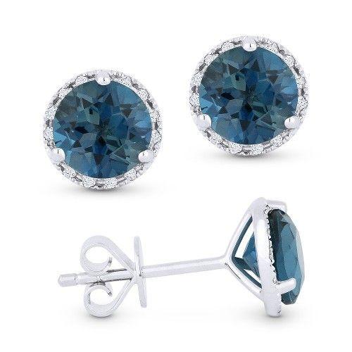 DE11609 London Blue topaz and diamond stud earrings