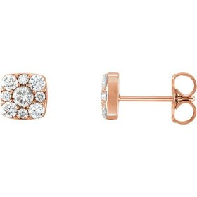86515 14kt rose gold diamond halo earrings