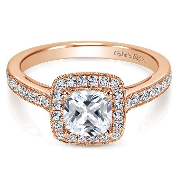 Gabriel & Co ER10694 rose gold cushion halo
