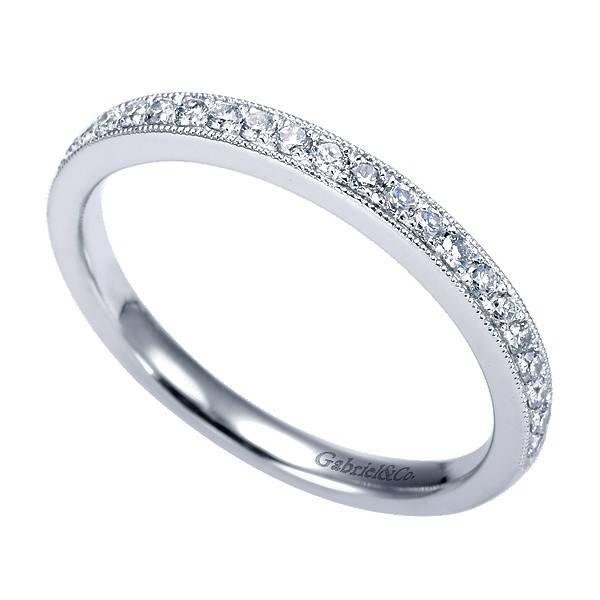 Gabriel & Co WB7282 milgrain diamond wedding band