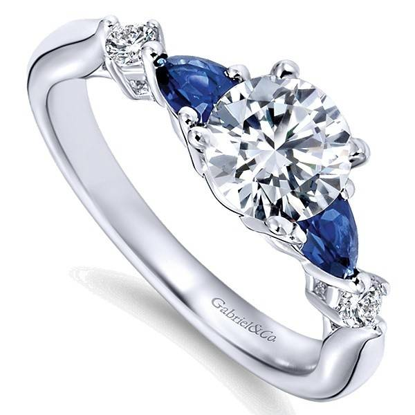 Gabriel ER6002 round diamond and pear shape sapphires engagement