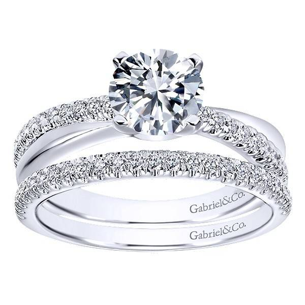 gabriel co er10439 criss cross engagement setting - Cross Wedding Rings