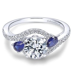 ER5331 Sapphire and Diamond Bypass Engagement Ring