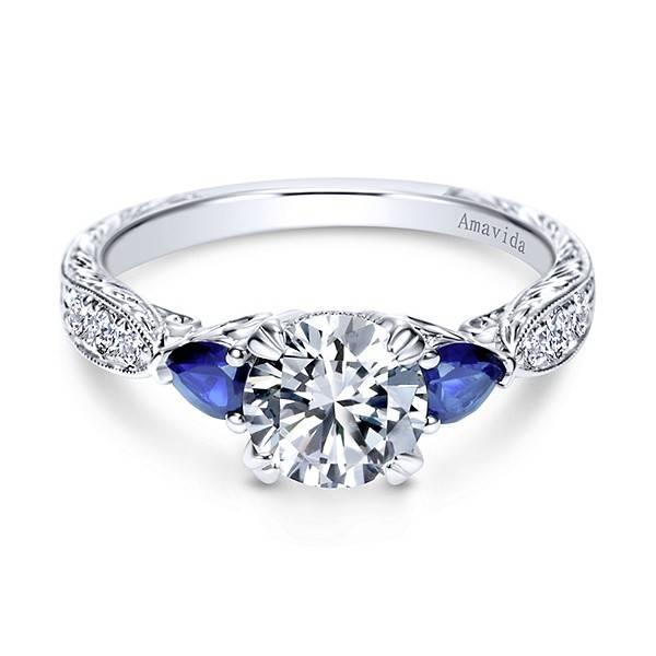 ER8773 platinum sapphire pear shaped ring