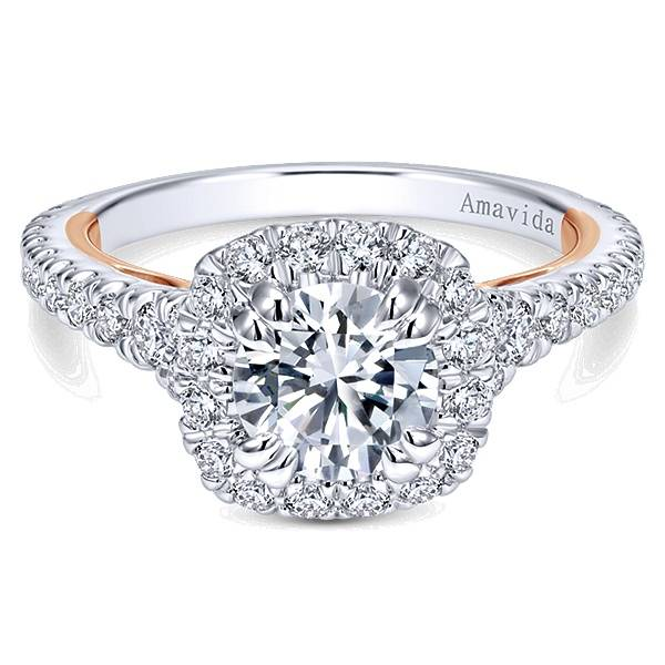 diamond rings nicole engagement gabriel halo amavida gold model products cushion grande white ring on style