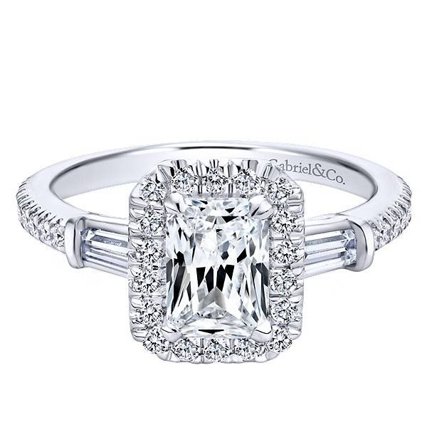 Emerald cut halo engagement rings side view