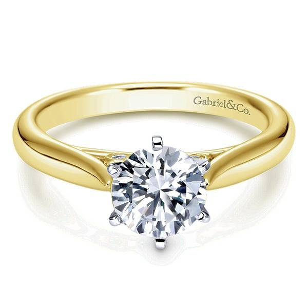 ER6668 Yellow Gold Solitaire