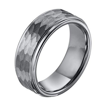 Triton 11-3288 Hammered Tungsten Wedding Band