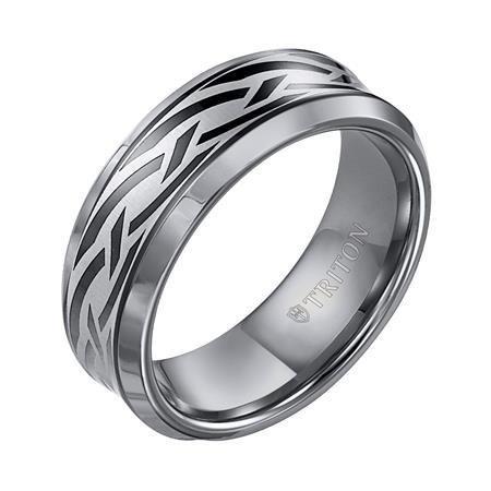 Triton 11-3049 tungsten pathfinder wedding band