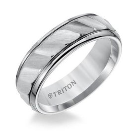 11-2925 tungsten wave cut wedding ring