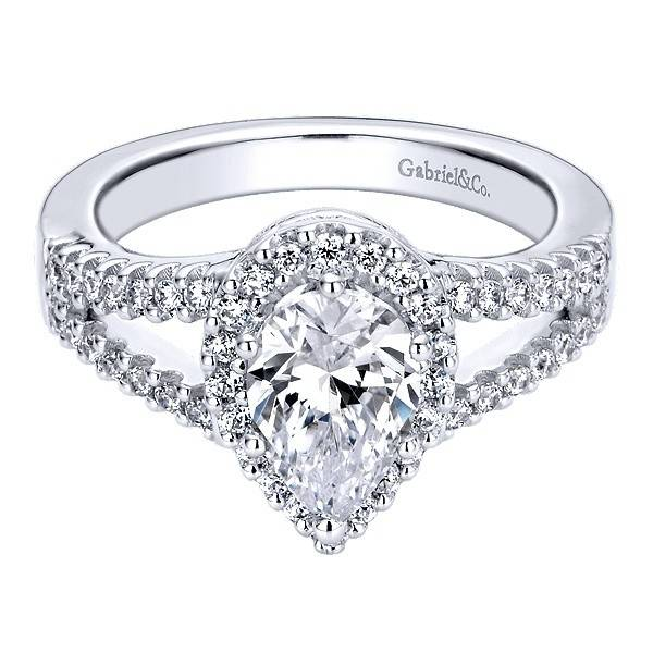 Gabriel & Co ER9373 pear shape split shank halo