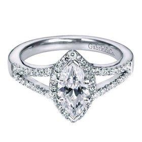 ER5878 Marquise Diamond Halo