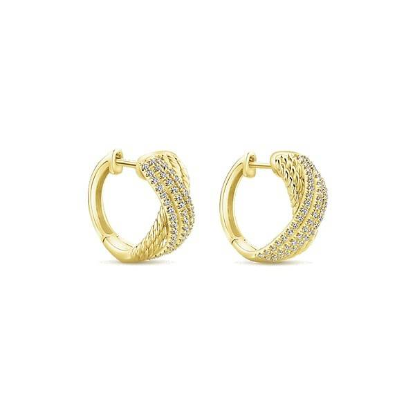 Gabriel & Co EG13230 yellow gold huggie earrings
