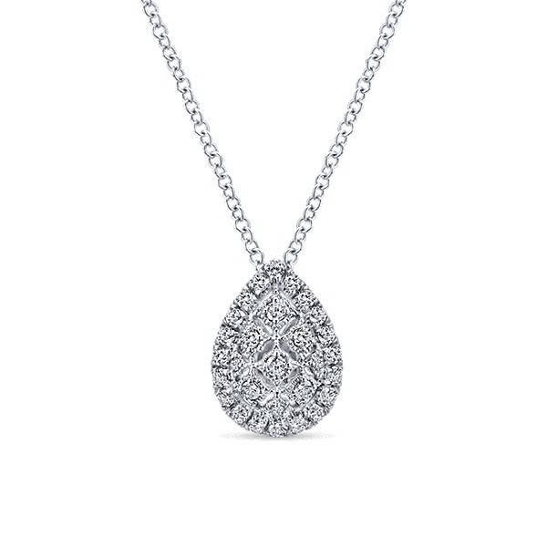 Gabriel & Co NK4938 pear shape diamond cluster necklace