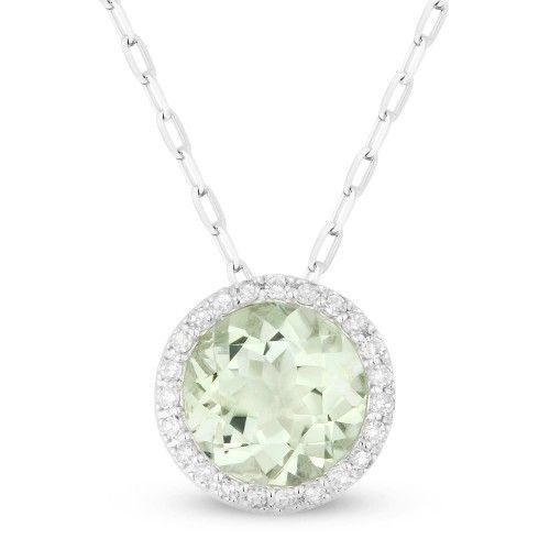 Green amethyst and diamond halo necklace freedman jewelers madison l dn3386 green amethyst halo necklace aloadofball Images