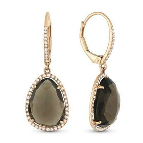 DE10754 Smoky Topaz Drop Earrings