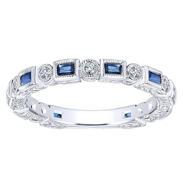 Gabriel & Co LR4380 diamond and sapphire alternating band