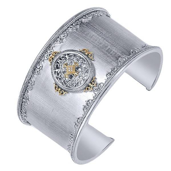 Gabriel & Co BG2620 Silver and 18kt yellow gold cuff bracelet