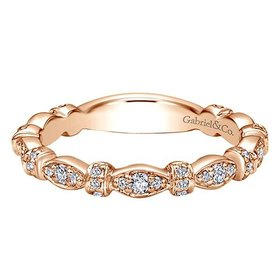LR4579 rose gold  diamond stackable band