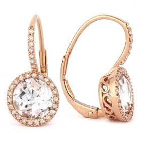 DE11498 rose gold white topaz earrings