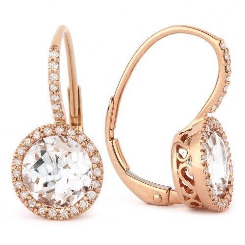 Madison L E1059WTP rose gold white topaz earrings