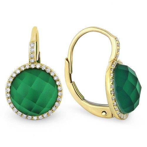 DE10573 green agate and white topaz earrings