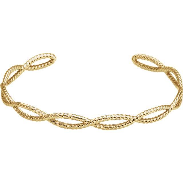 Stuller BRC760 Rope Cuff Bracelet