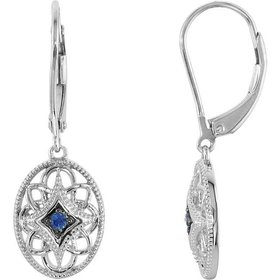 69707 Silver and Sapphire Drop Earrings