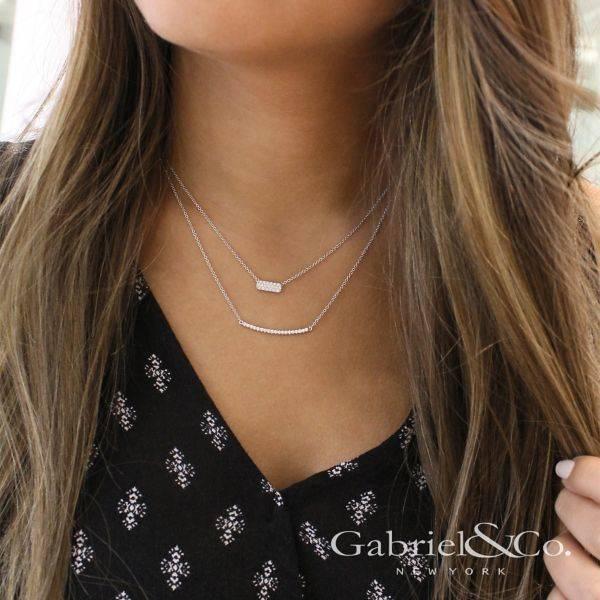 Gabriel Co Nk4273 White Gold Diamond Bar Necklace