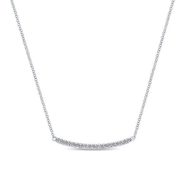 NK4273 White Gold Diamond Bar Necklace
